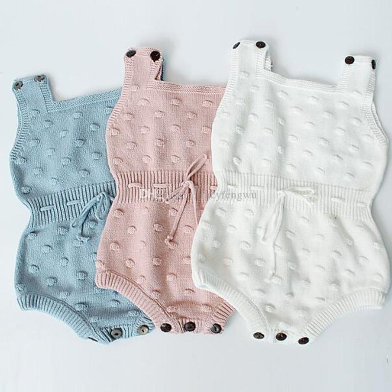 355d118bbdf8a Newborn Baby Clothing Autumn Toddler Baby Girl Clothings Ruffles Princess  Girl Sweet Knitted Overalls Infant Romper children vest BB021