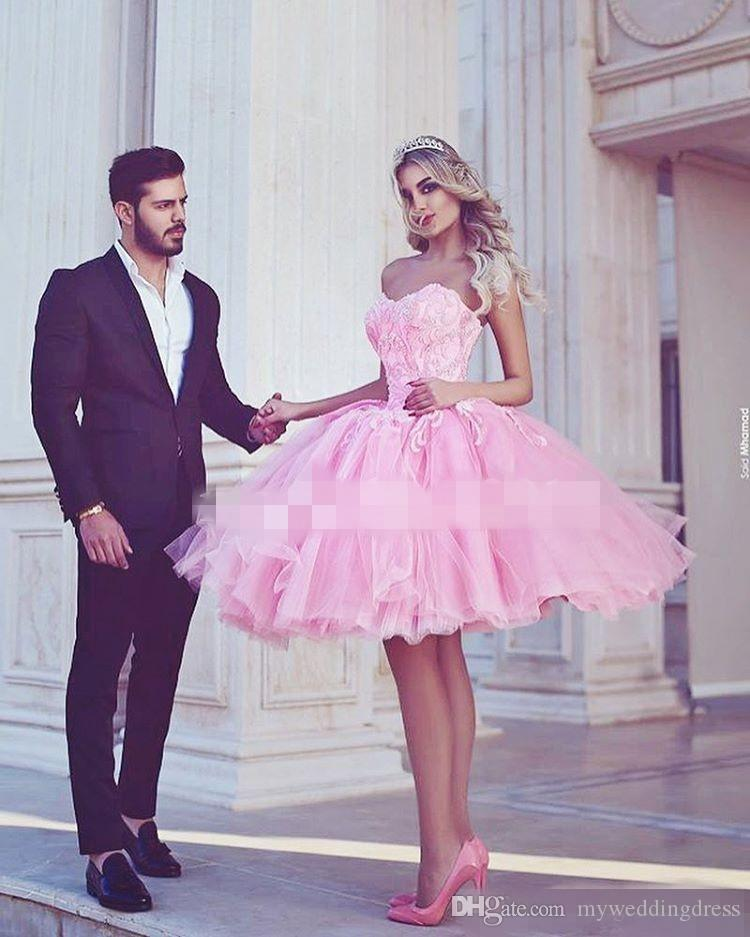 Compre 2017 Junior Barato Rosa Caliente Homecoming Vestidos De ...