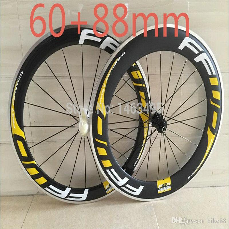 FFWD bike carbon wheels 60mm+88mm bicycle carbon wheels 3k glossy clincher 700C 23mm V brake ceramic bearing hubs china bike wheels
