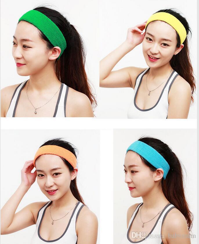 Coton Femmes Hommes Sport Sweat Yoga Gym Bandeau Bandeau extensible tête de bande Hairband film étirable Bandanas
