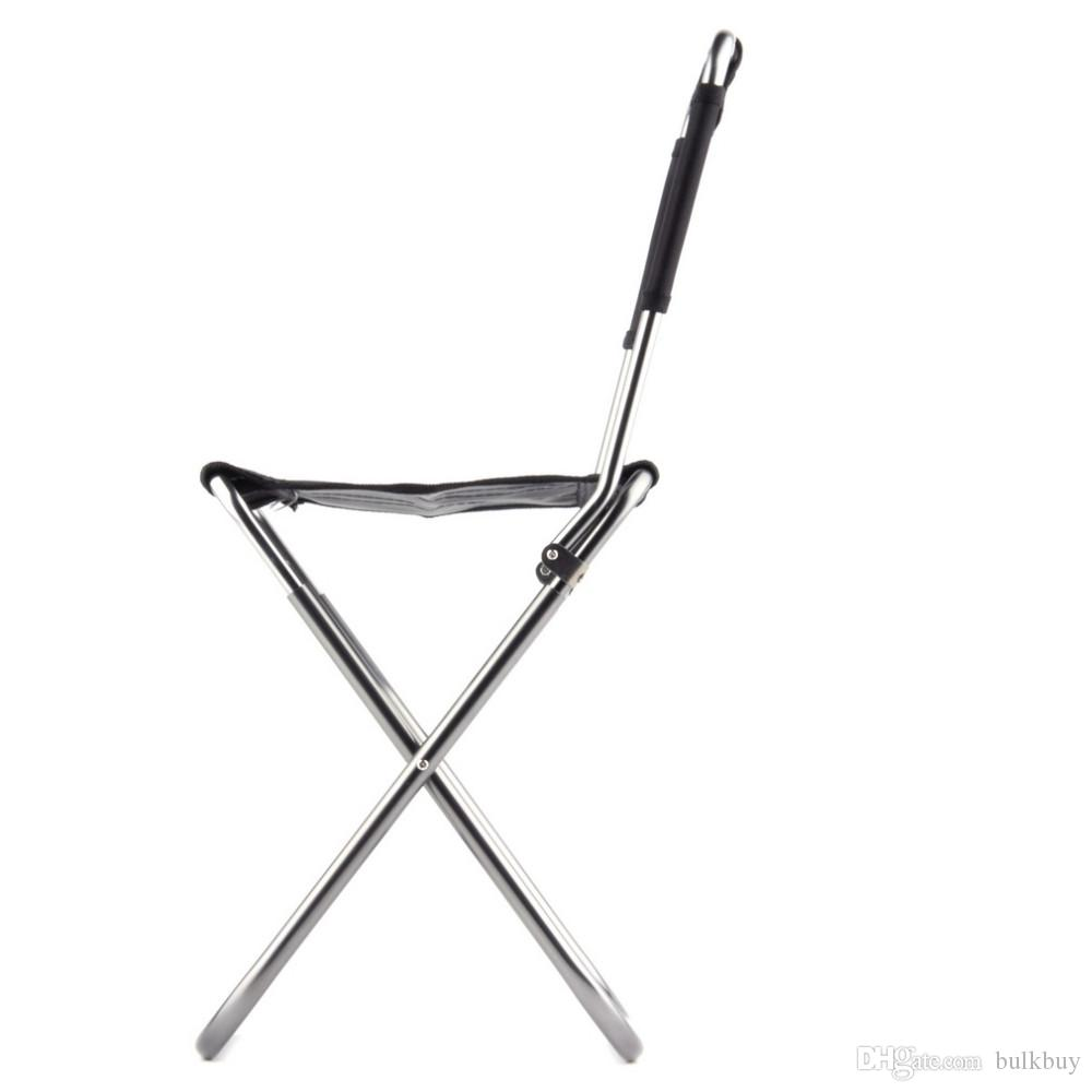 JS-003A Portable Folding Outdoor Fishing Camping Chair Aluminum Oxford Cloth Chair with Backrest Carry Bag Black wholesale