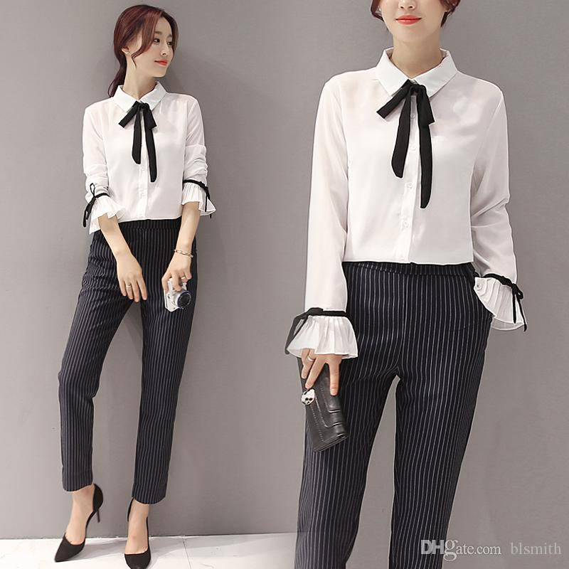 eebef2f93aeea 2018 Women u0027S Spring 2017 New Wave Korean Sweet Fashion Style Long  Sleeved Shirt + Haul Pants Two Piece Beautiful Suit From Blsmith