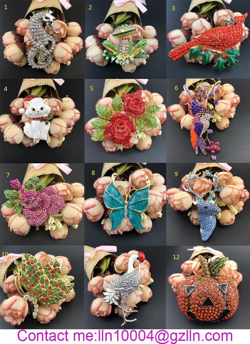 hot sale high quality 60mm rose flower brooch rhinestone Big rose flower jewelry brooch pin