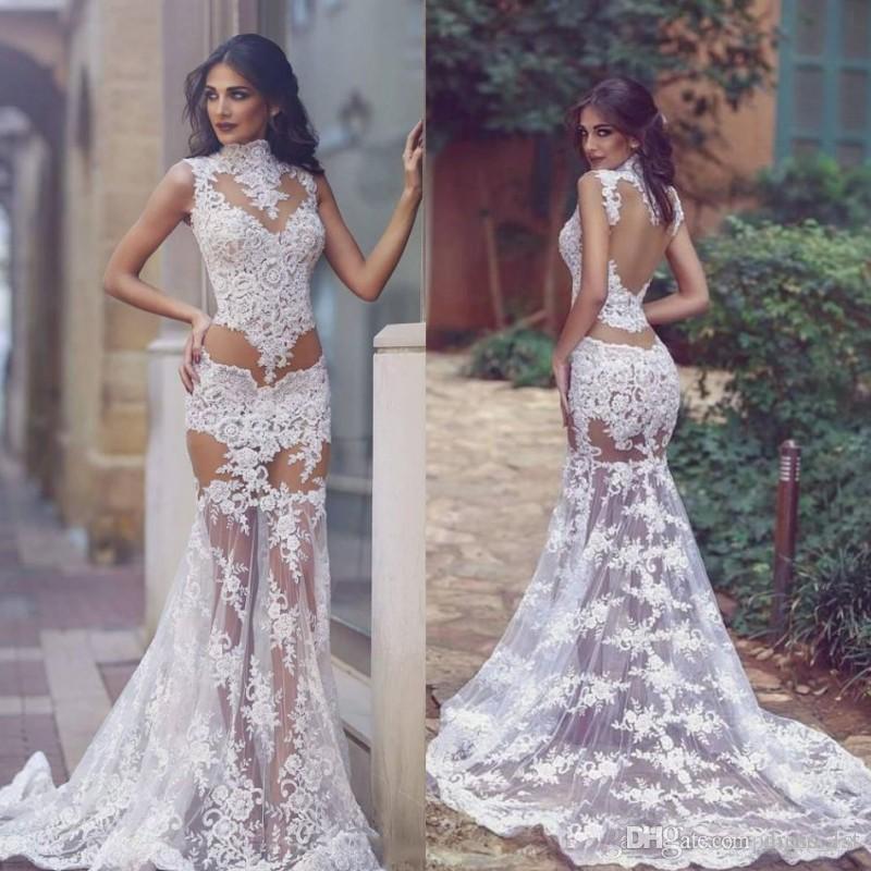 a2b5f5813 Summer 2019 Sexy Transparent Wedding Dresses High Neck Mermaid Lace Illusion  Bodice Sheer Skirt Long Bridal Wedding First Night Dresses A Mermaid Wedding  ...