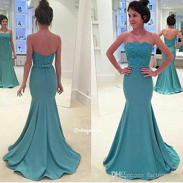2017 New Aqua Lace Mermaid Prom Dresses Sexy Backless With Buttons  Strapless Sash Long Evening Gowns BA3952 Peacock Prom Dress Plus Size Formal  Dress From ... fd9879b59
