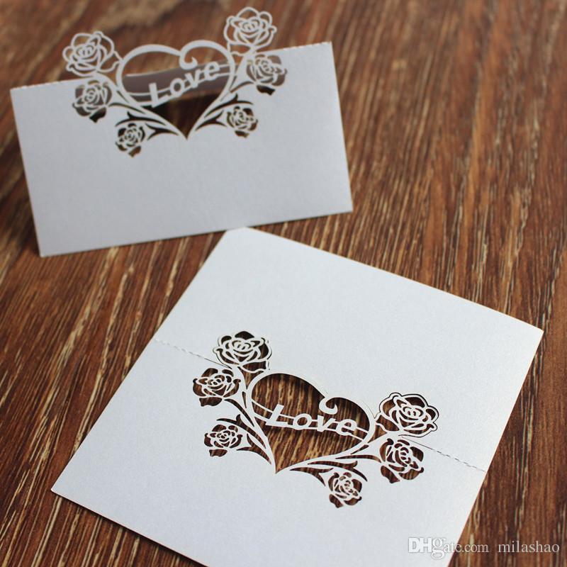 Centro de mesa de casamento centerpieces corte a laser rose amor cartão de mesa qua Party cartão do lugar titular nome cartão multi Cor Navio Livre