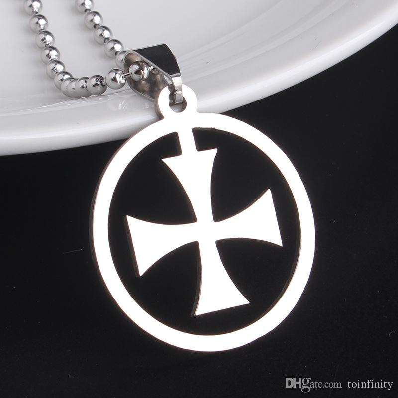 Wholesale brand new silver maltese cross stainless steel round wholesale brand new silver maltese cross stainless steel round pendant chain necklaces wholesale butterfly necklace chain necklace from toinfinity aloadofball Images