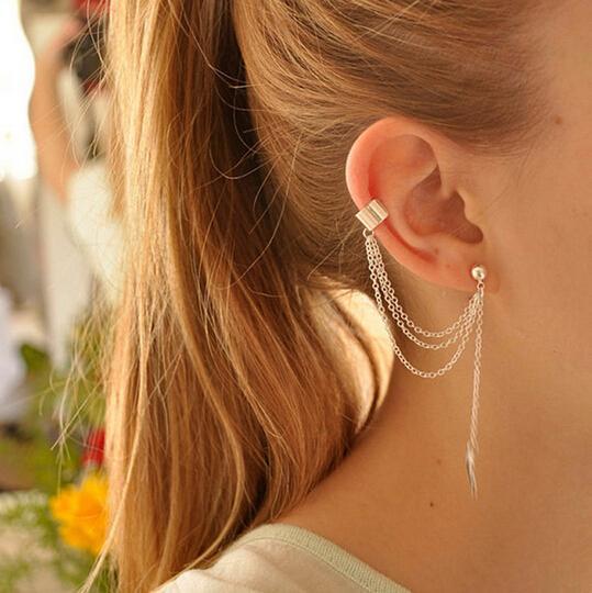 TE248 Tassel Chains Leaf Pendant Ear Cuff Stud Earring Elegant Fashion Long Earrings For Women Girls Jewelry Gold Silver Color