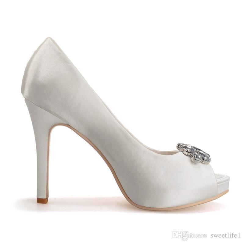 Clearbridal kadın Saten Düğün Gelin Ayakkabıları Açık Peep Toe Stiletto Topuk Akşam Porm Kristal ZXF6041-02 ile Sandalet