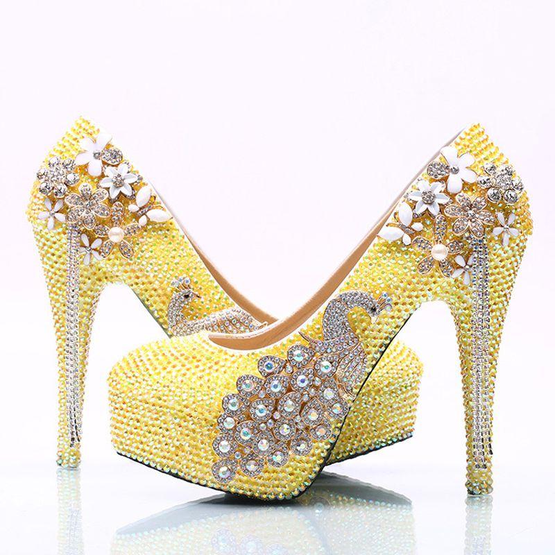 Lemon Yellow Rhinestone Wedding Party Shoes Handmade Bridal Dress Girl Birthday High Heels Prom Pumps Plus Size Mid Heel Most