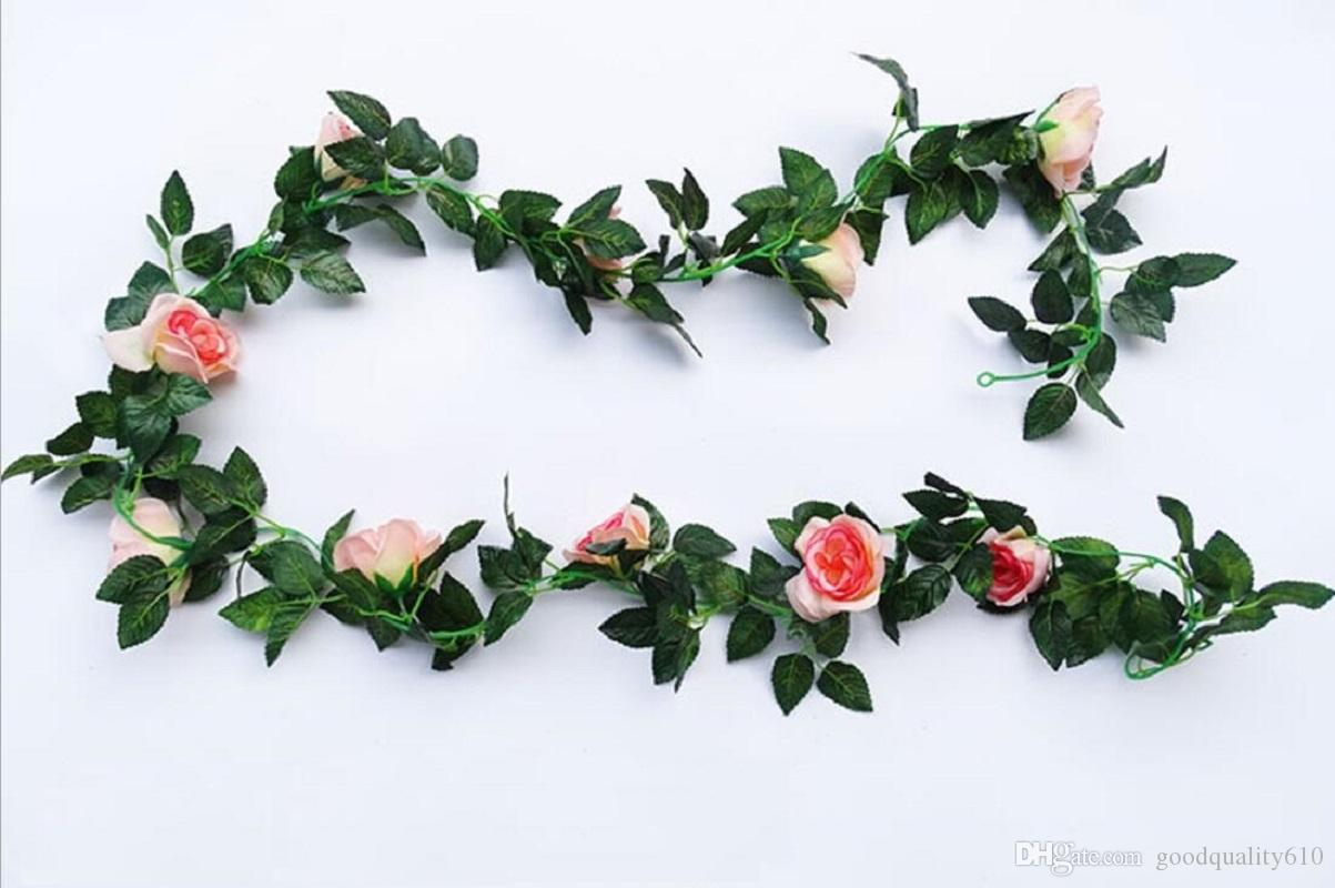 Artificial Rose Flower Leaf Garland Ivy For Plant Wall Background Wedding Party Home Office Bar Decorative