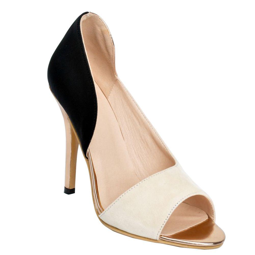 Zandina Sıcak Satış Bayan Moda El Yapımı 100mm Yüksek Topuk Açık ayak Büyük Boy Parti Ofis Ayakkabı Pompalar Bej XD088