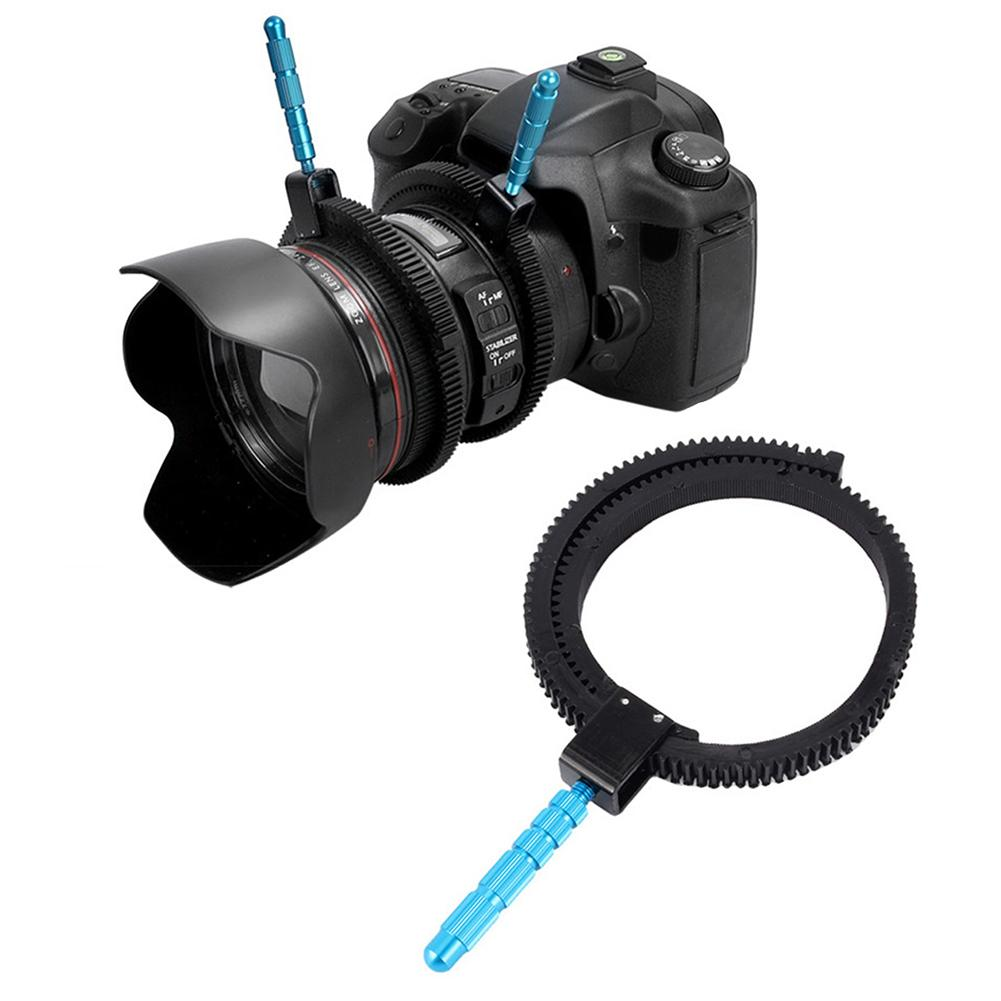 Wholesale- For SLR DSLR Camera Accessories Adjustable Rubber Follow Focus Gear Ring Belt with Aluminum Alloy Grip for DSLR Camcorder Camera