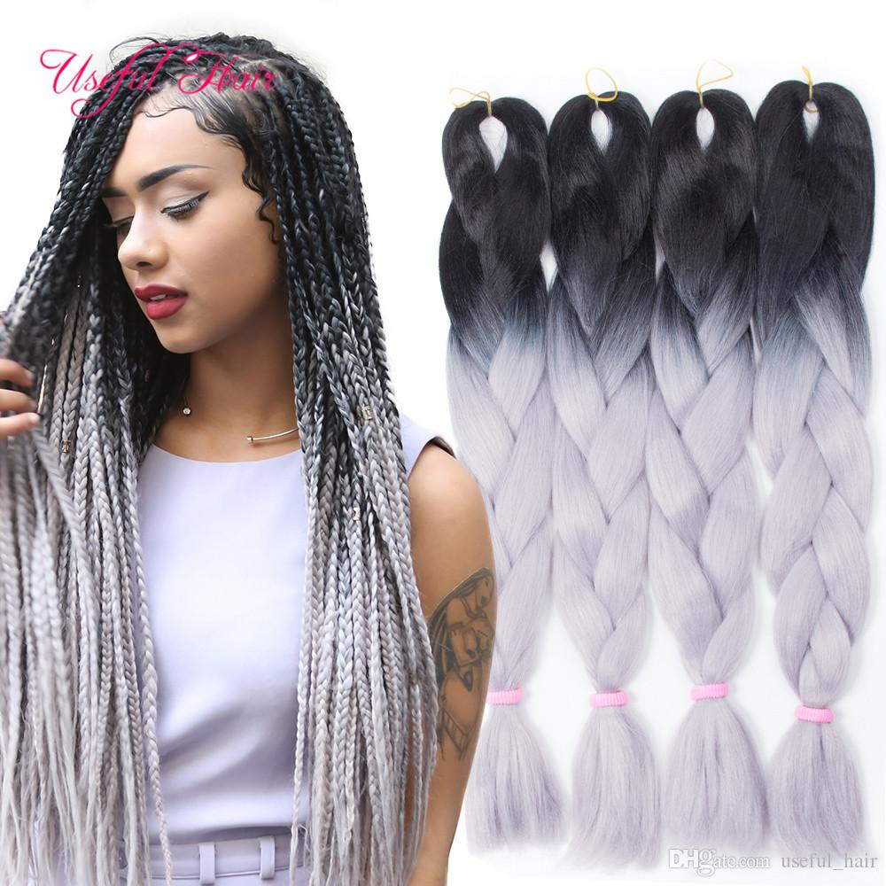 Ombre Grey Jumbo Braiding Hair Synthetic Two Tone Hair Color Black