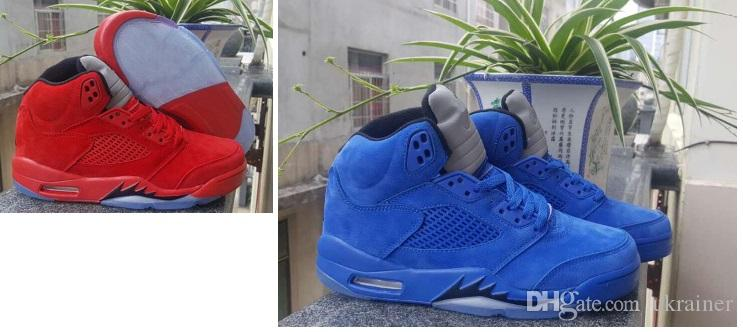 size 40 83b51 67af0 Wholesale Men 5 V Raging Bull Red Suede Tongue Reflect Basketball Shoes 5s  V Bull Blue Sneakers Shoes men sports sneaker