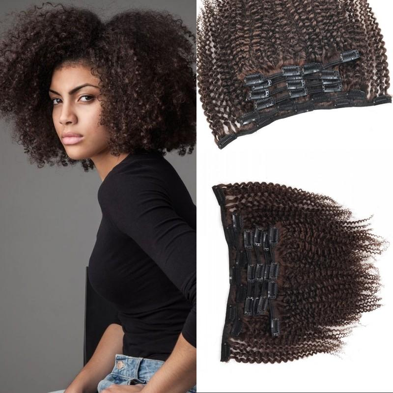 Indian Afro kinky Curly Remy Hair Clip in Extensions 100% Unprocessed Human Hair 7 pcs/set Full Head Clip ins FDSHINE