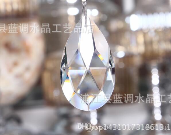 Lámpara de cristal de cristal Prismas de techo Lámpara de lágrima Colgantes Abalorios Accesorios de cortina Boda Decorar Tipo de tamaño