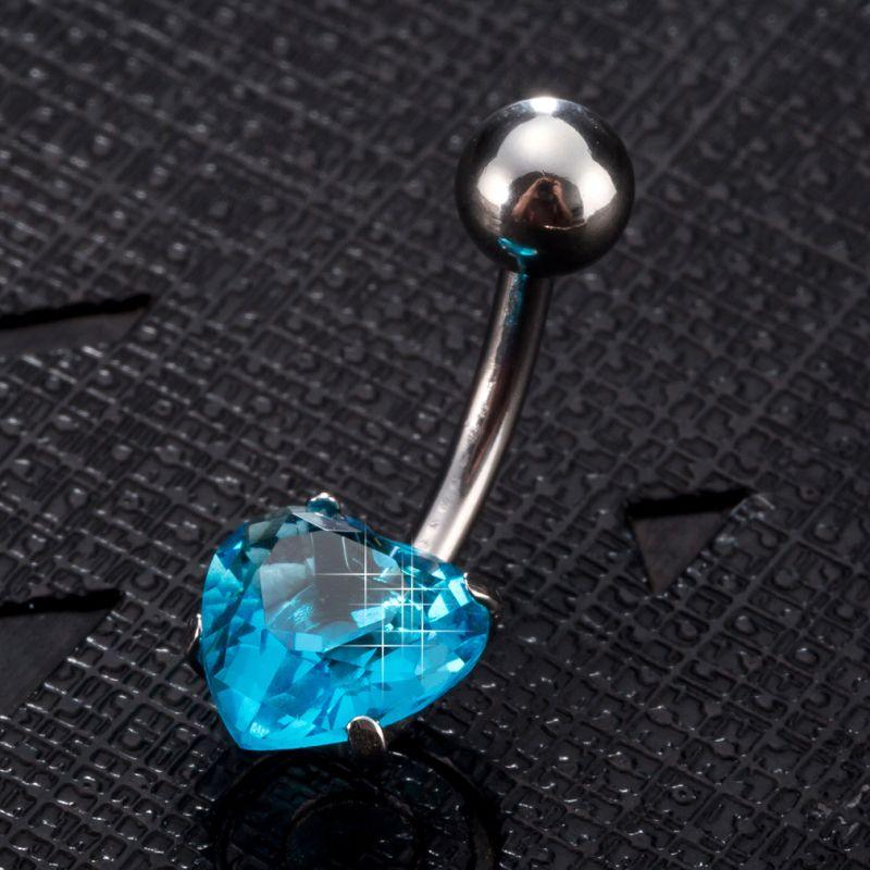 En gros 5 couleurs disponible zircone cubique CZ mignon coeur boule Piercing nombril anneau ventre bouton anneau mode bijoux de corps