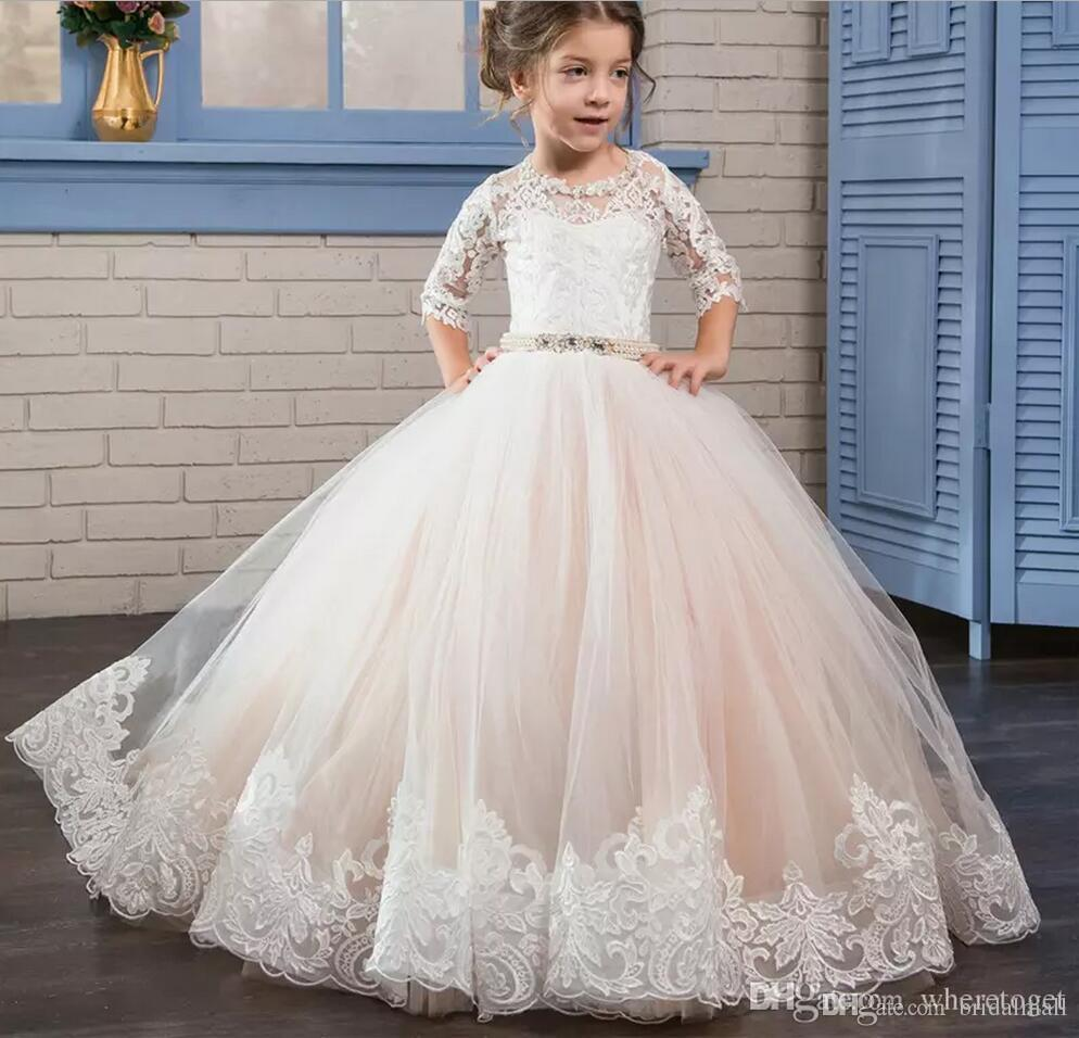 2018 Puffy Kids Prom Graduation Holy Communion Dresses Half Sleeves Long Pageant Ball Gown Dresses For Little Girls Custom Made