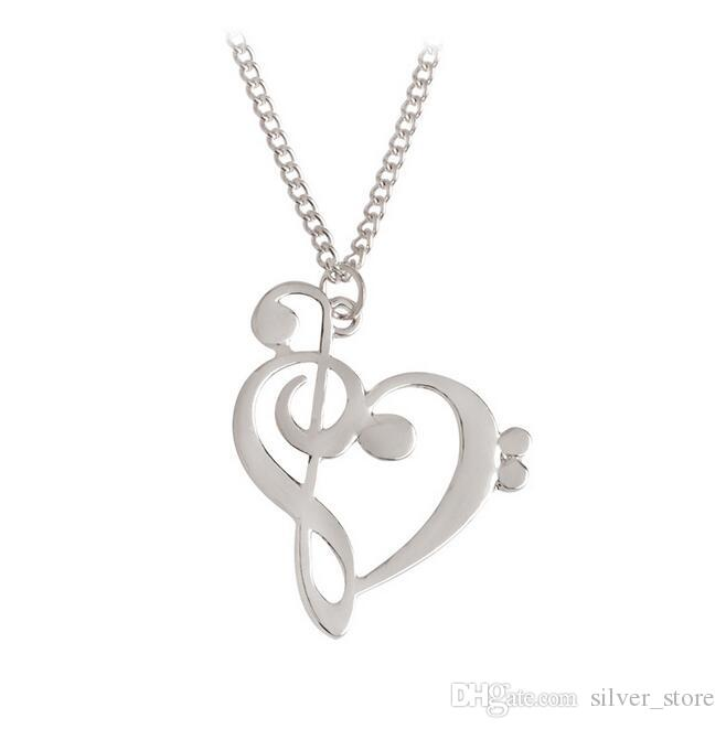 Brand new Fashion love notes necklace hollow heart - shaped notes clavicle chain WFN404 with chain a
