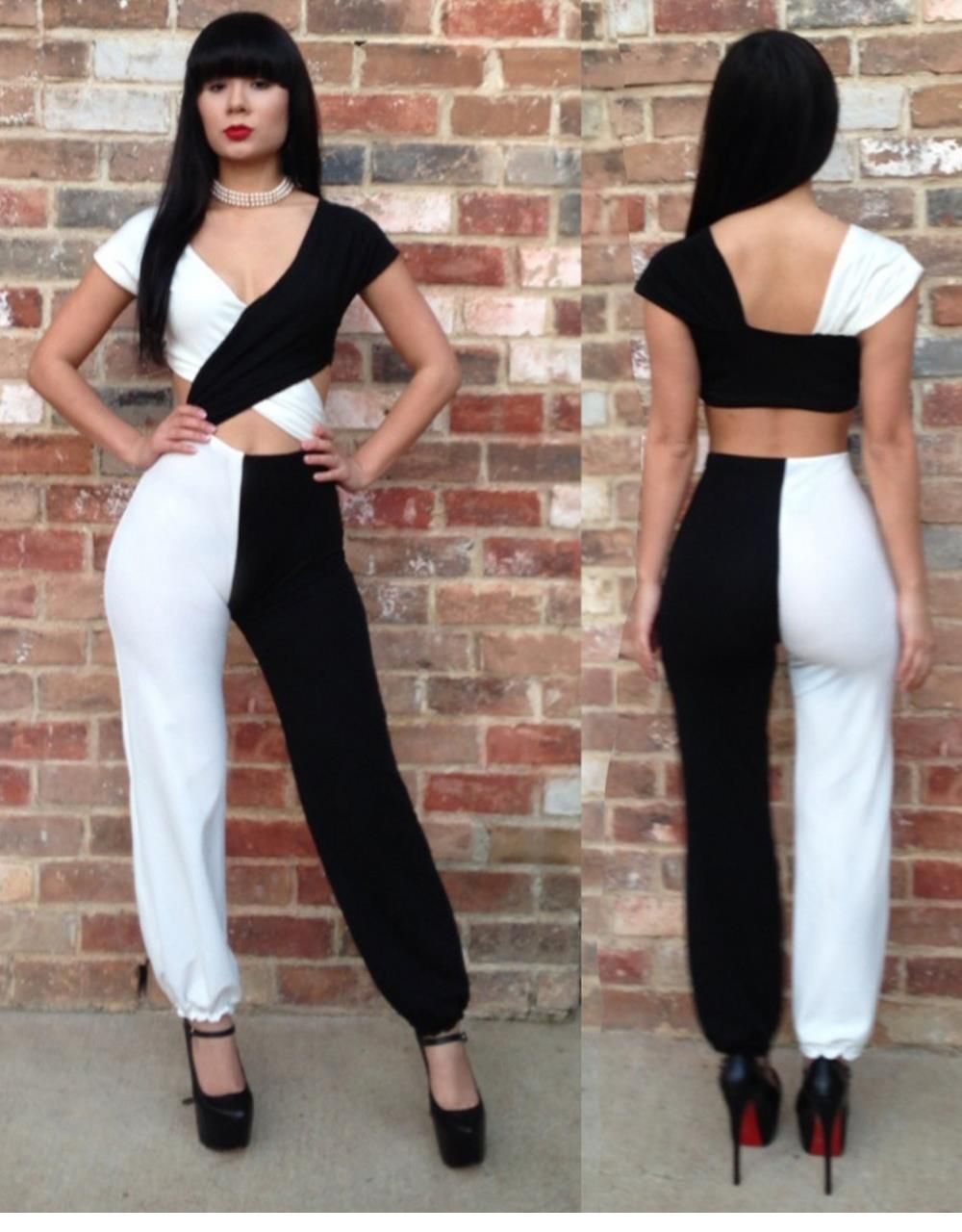 d16e12868a12 Wholesale- HOT 2015 Wholesale Price Sexy Black And White Splice Summer  Catsuit Ladies W84363 Casual Women Jumpsuit