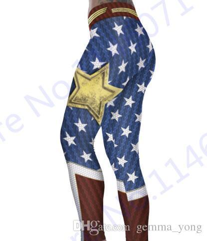 Wonder Woman Yoga Sıkıştırma Pantolon Kırmızı Spor Tayt Elastik Bel Spor Tayt Kadınlar Mavi Tereyağı Asansör Polyester Pantolon