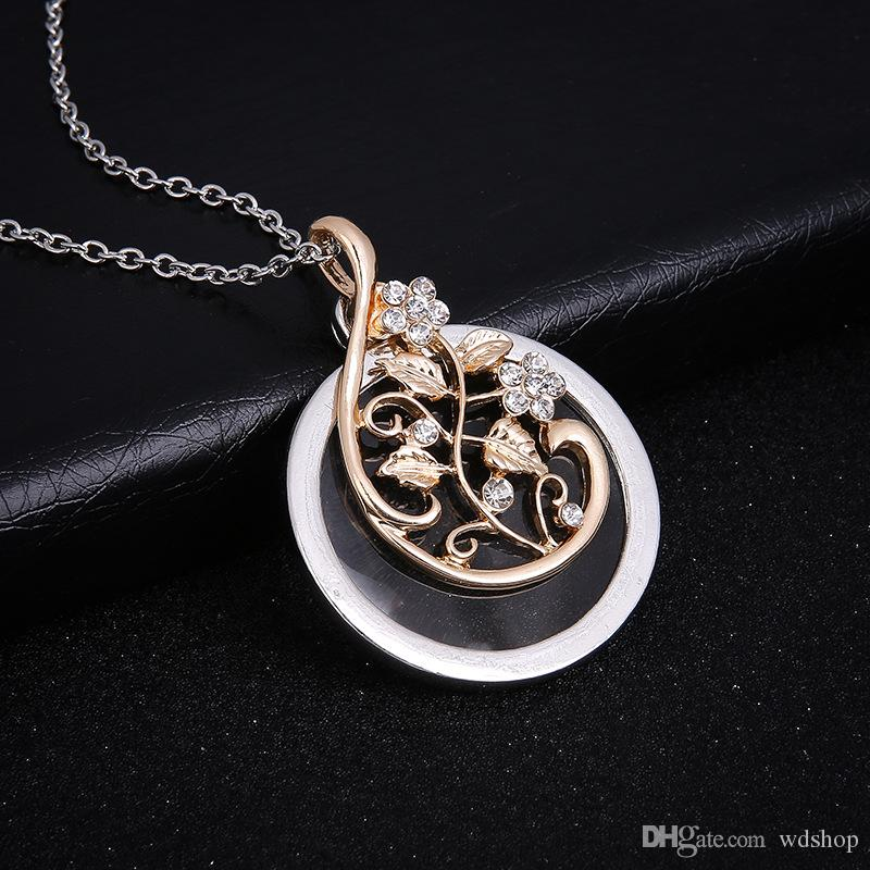 Elegant silver flower vine crystal pendant with round glass base Necklace With Free 24 Inches Chains For Women Valentine'S Day Gifts