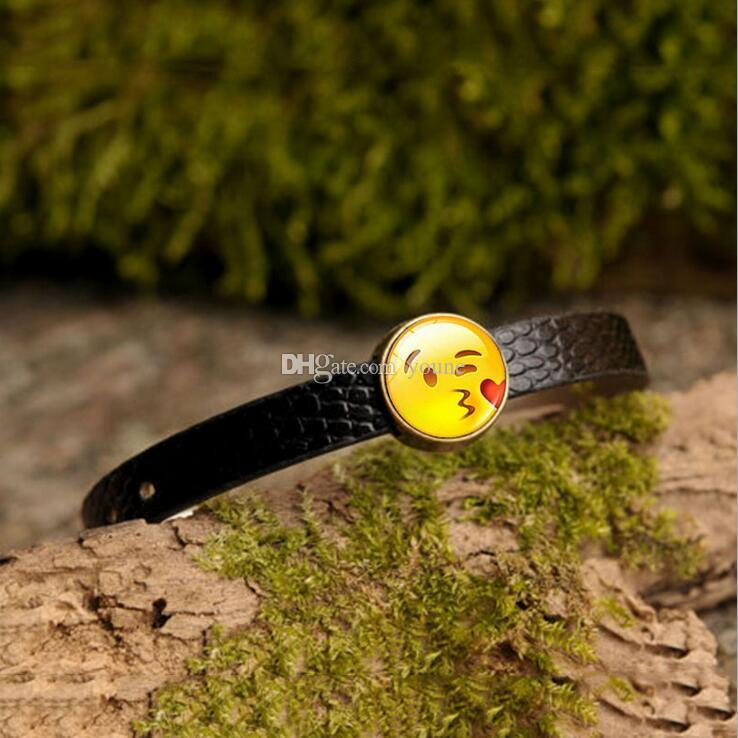 Creative Funny Emoji Charm Bracelet Glass Cabochon Art Picture Fashion Jewelry Black Leather bangle bracelet for Women Gift