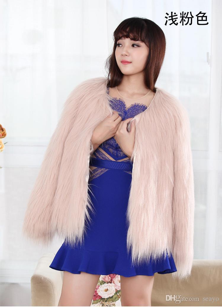 Winter Hochzeit Mantel Braut Kunstpelz wickelt warme Schals Oberbekleidung rosa weiß lila schwarz langärmelige große schwimmende Mantel Abend Party