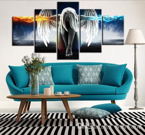 النفط اللوحة 5 قطعة / مجموعة ملاك الشياطين الجناح المطبوعة قماش أنيمي غرفة الطباعة جدار الفن الطلاء الديكور ديكور كرافت صورة ديكور المنزل