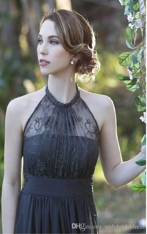 Sheath/Column Halter Cheap Chiffon Long Evening Dresses Formal Gowns Empire Waist Draped Floor Length Sleeveless Prom Dress Evening Gowns