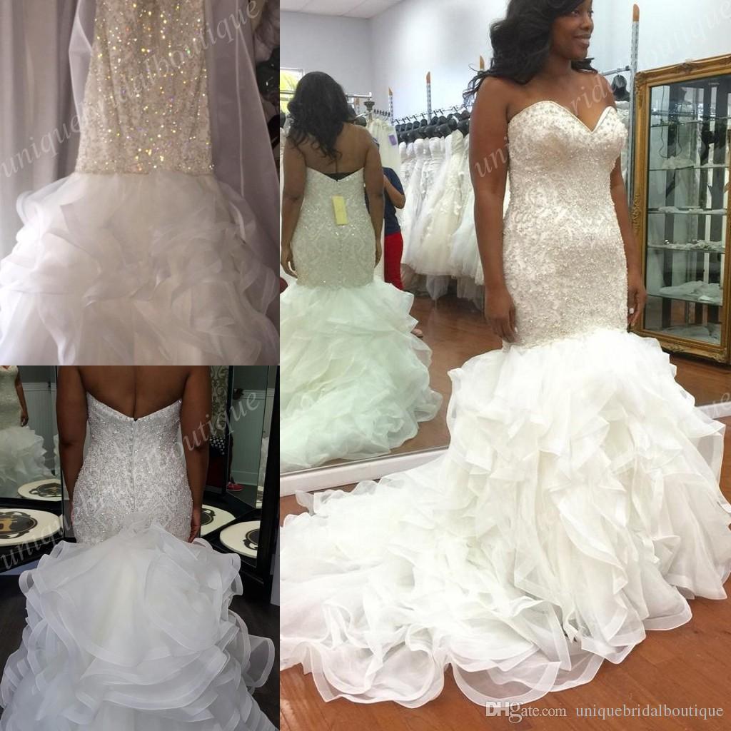 Vintage Plus Size Mermaid Wedding Dresses Beading Sweetheart Neck