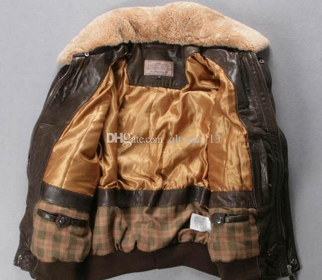 yellow brown AVIREX FLY genuine leather jackets men flight bomber jacket for sale