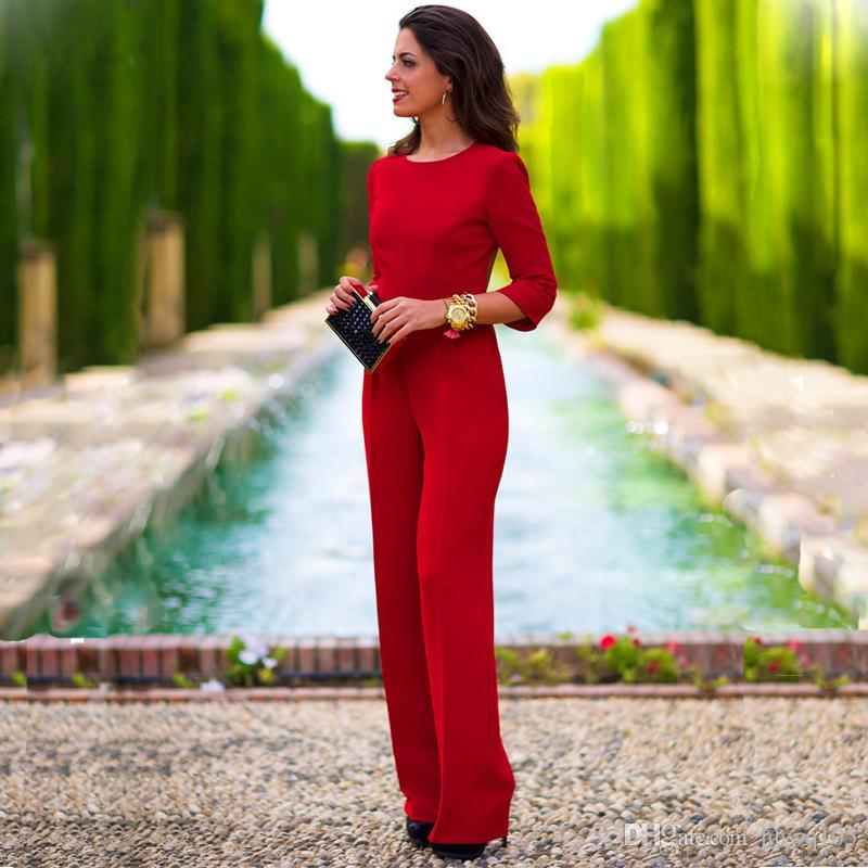 784b58c3adc 2019 Elegant Ladies Long Jumpsuit Playsuit 3 4 Sleeve O Neck Backless Party  Club Jmpsuits Fashion Wide Leg One Piece Pant Romper ZSJF0443 From Hhwq105