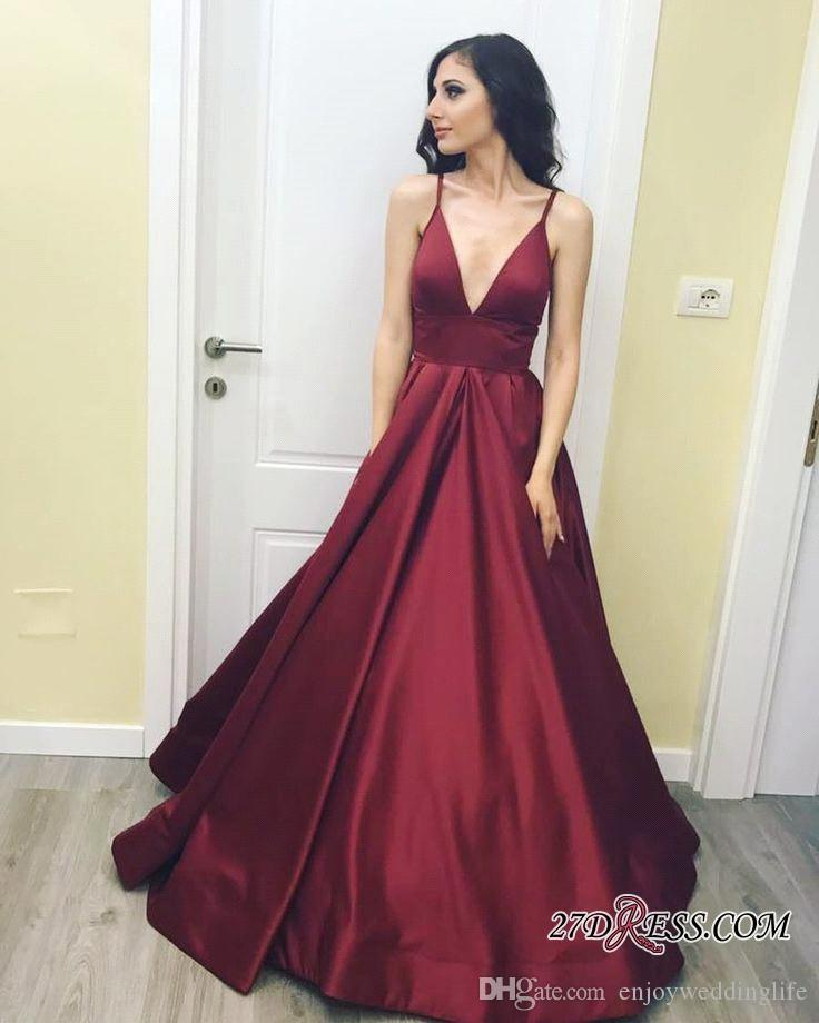 9b7bc91f049 Dark Red Straps Plunging V Neck Prom Dresses 2017 New Cheap A Line Satin  Simple Elegant Evening Gowns Vintage Pageant Wear BA7143 Canada 2019 From  ...