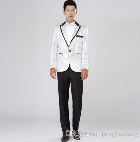 Noir blanc rouge or bleu paillettes silm costume ensemble hommes costume  dernier manteau pantalon conçoit mens costumes mariage costume + pantalon +  cravate 46db11c9262