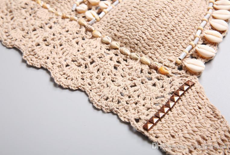 New Summer Bohemian Swimwear for Women Vintage Shells Beaded Crochet Swimsuit Tankinis Bikini Set Shorts Knitted Bikini Suit C2976