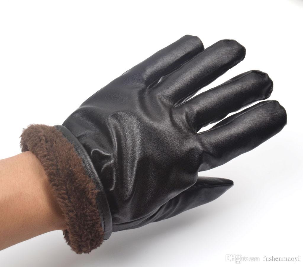 أسود شتاء دافئ جلد كامل اصبع قفازات شاشة اللمس قفازات جلدية الحرارية اصطف الهاتف الرسائل النصية قفازات دراجة نارية يندبروف