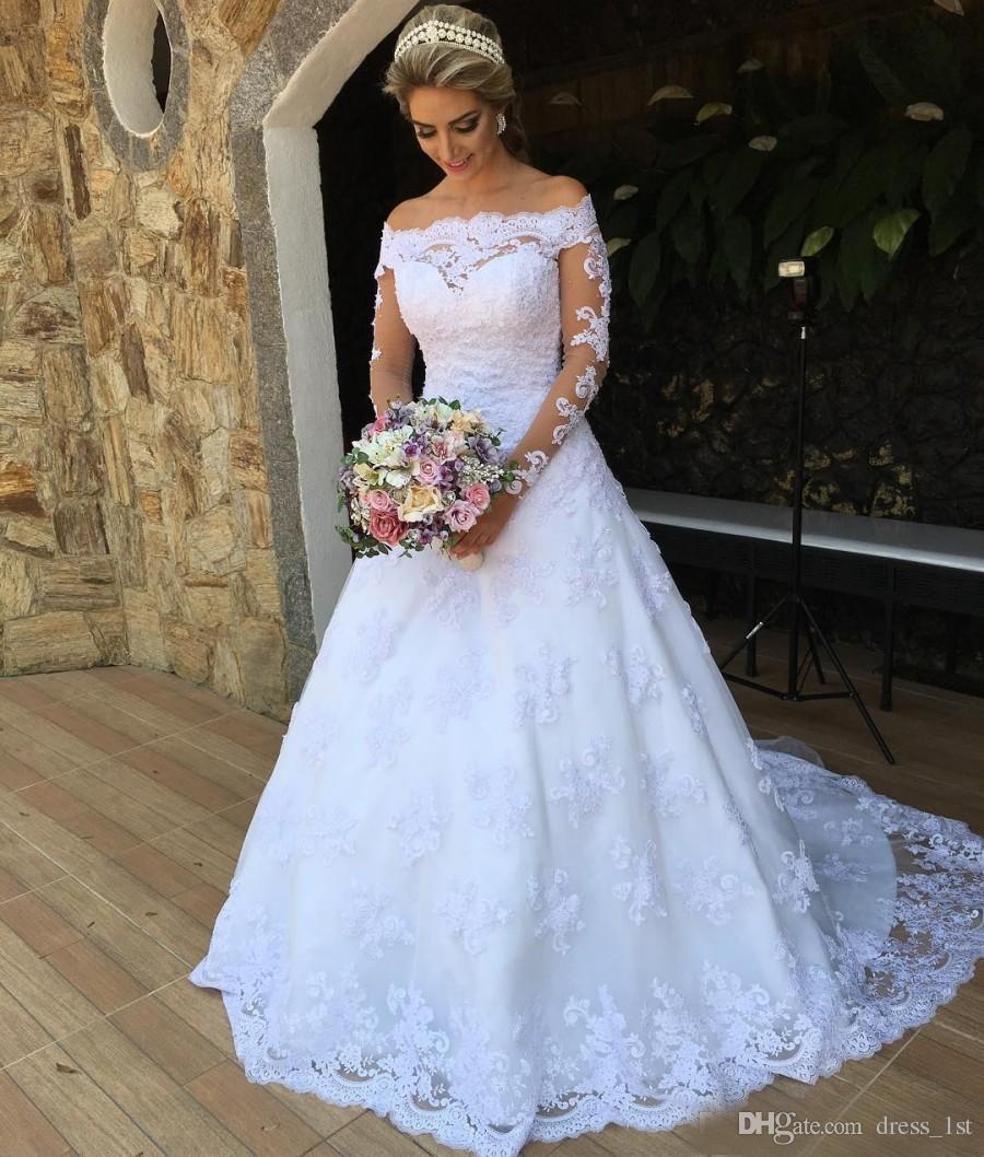 Романтический 2017 кружева с плеча иллюзия длинные рукава сад свадебные платья скромный аппликация бисер длинные свадебные платья на заказ EN7173