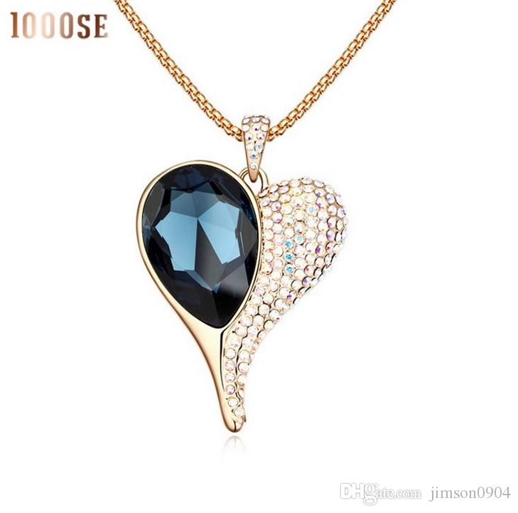 2017 new A genuine SWAROVSKI crystal elements with high-end fashion sweater chain heart light fairy Long Necklace sale