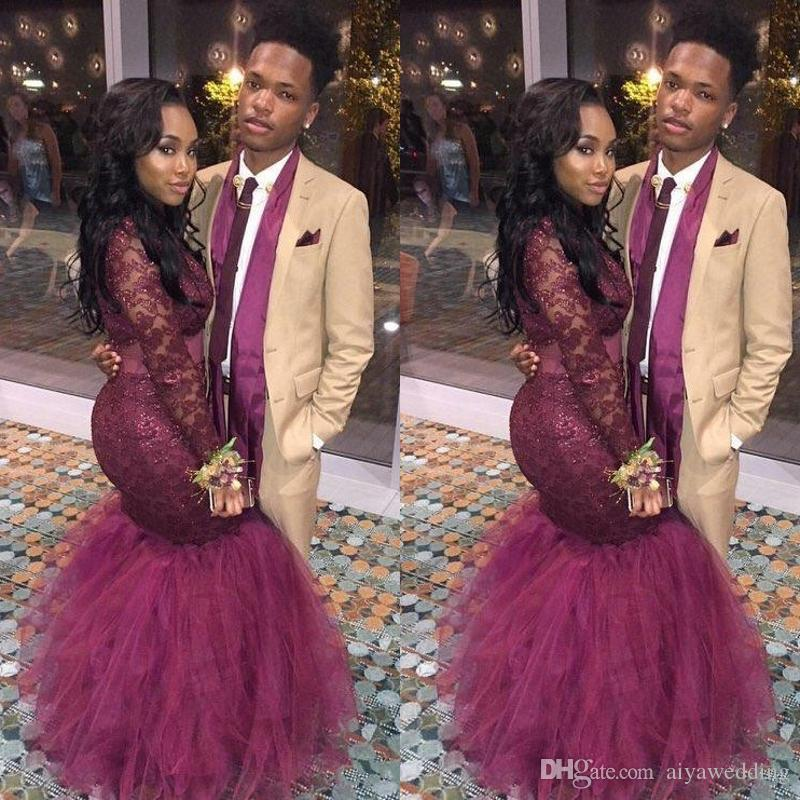 Burgundy Mermaid Black Girls Prom Dresses Long Sleeves Illuiosn Formal Evening Gowns Red Carpet Celebrity Runaway Dress Custom Made
