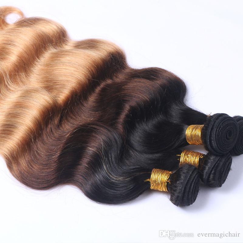 Koyu Kök Ombre Kahverengi Çilek Sarışın Üç Ton Renkli Saç 1b 4 27 Renk Sarışın İnsan Saç Atkı Demetleri Ombre Saç Örgüleri