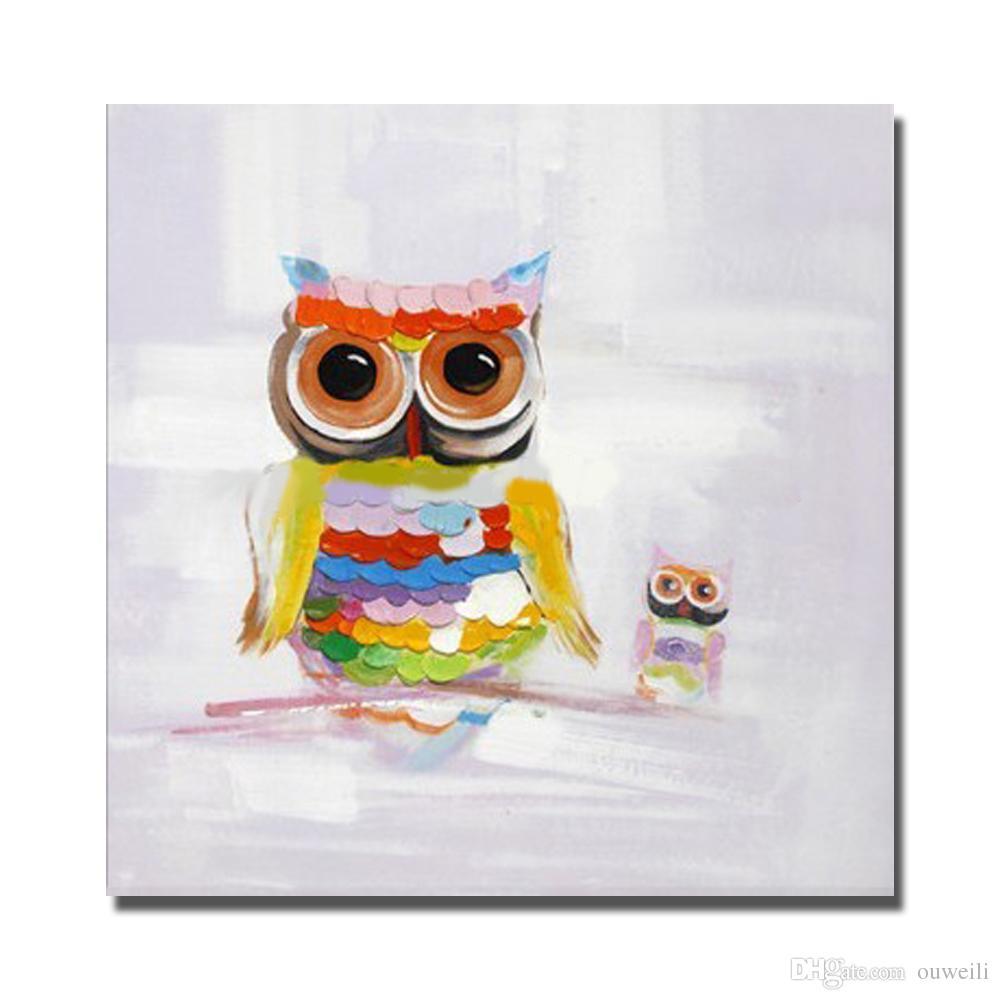 2017 Cartoon Animal Owl Birds Oil Painting Hand Painted Canvas ...