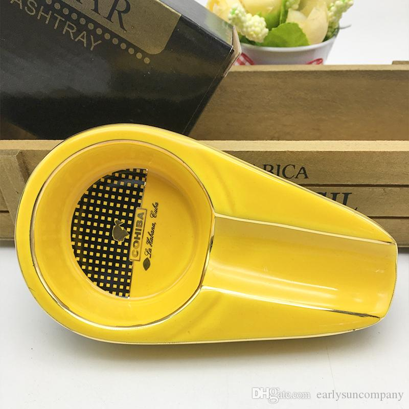 Yeni Varış COHIBA Taşınabilir Sigara Küllük Mini Küllük Metal Cep Sigara Puro Küllük Seyahat Sarı Renk