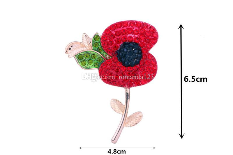 New design Luxury UK Remebrance Day Gift Gold Tone Red Diamante Crystal Poppy Pin Brooch Pretty Poppy Flower Brooch DHL