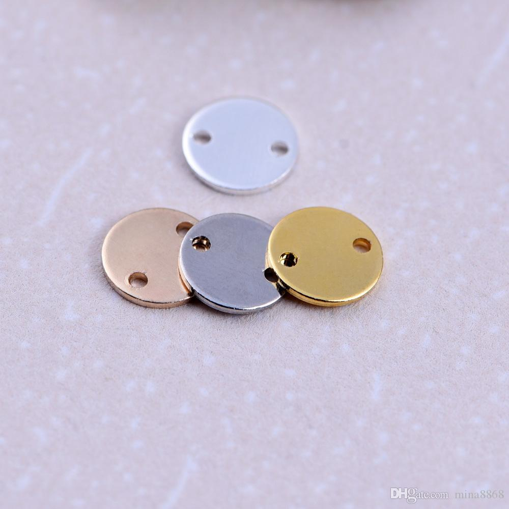 Оптовая высокое качество латунь золото / серебро цвет метки круглые подвески штампованные гладкий диск монеты круглые подвески подвески для ювелирных изделий DIY изготовление частей