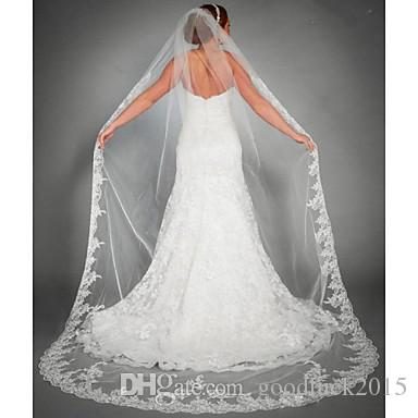 2017 Wedding Veil One Tier Chapel Veils Cathedral Lace Applique Edge Accessories Bridal White Ivory Comb Silk The