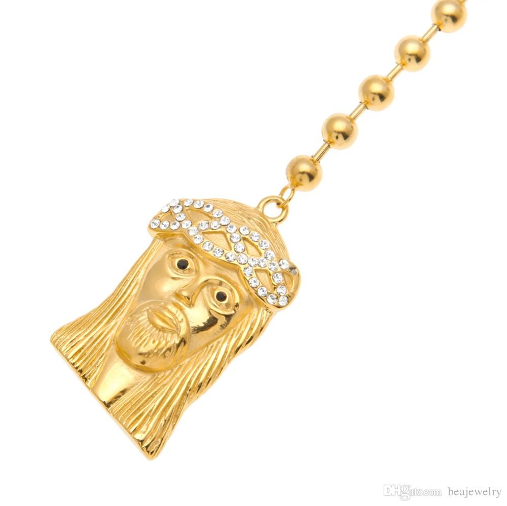 Men Gold Plated Catholic Jesus Rosary Bead Necklace Christian Double Jesus Charm Pendant Religious Long Bead Chain