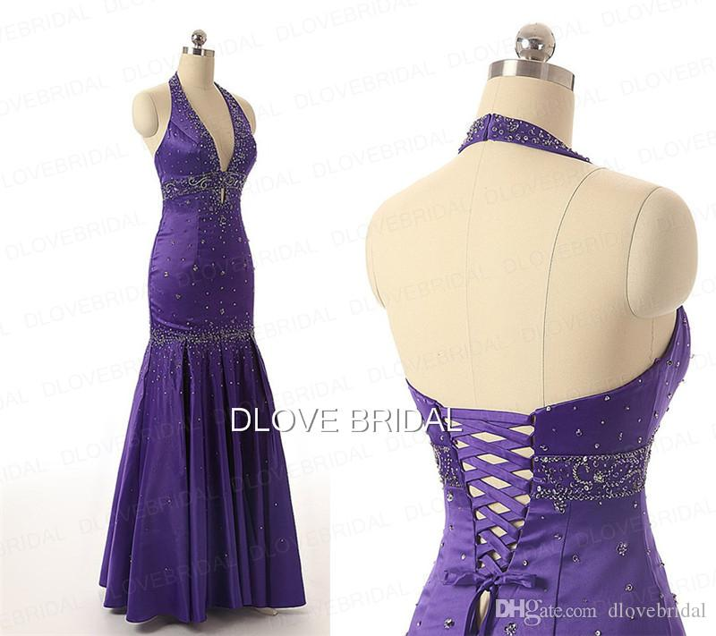 Sexy Mermaid Halter Prom Dress Delicate Beaded Corset Formal Special Occassion Backless Floor Length Evening Party Dresses Purple Blue Gown
