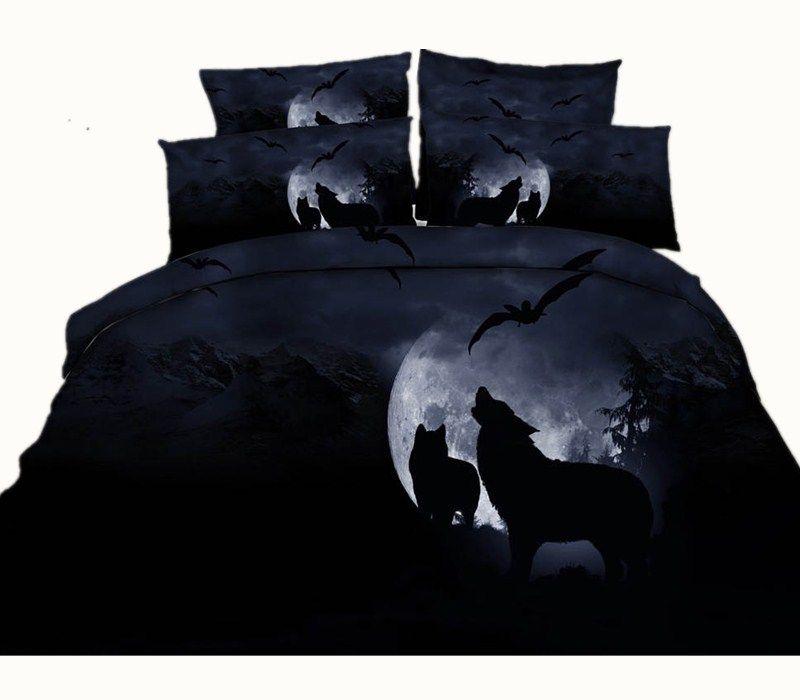 Setting Sun Desert Wolf 3D Printed Bedding Sets Twin Full Queen King Size Duvet Covers Pillowcase Comforter Animal Moon Bat Fashion